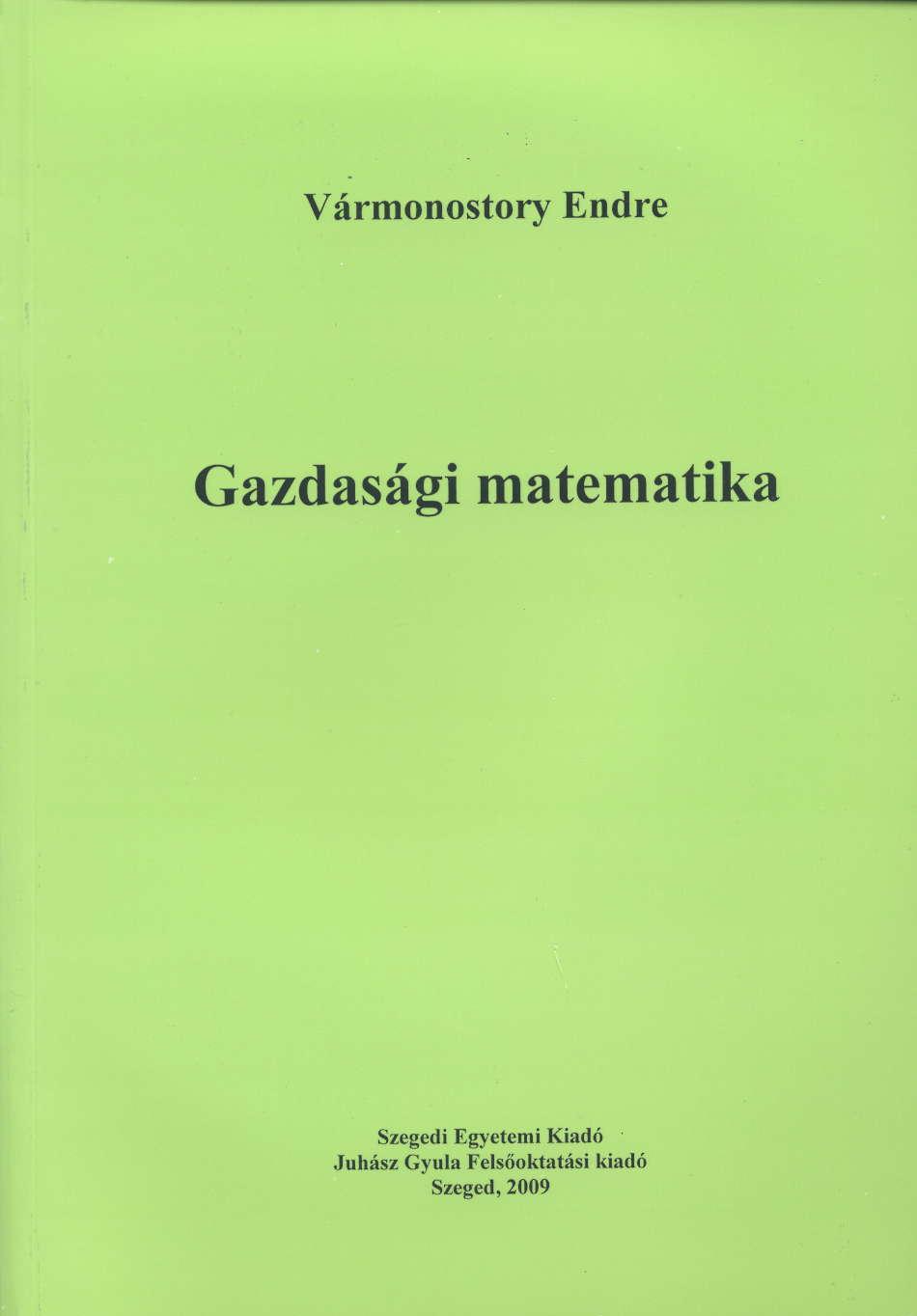 Gazdasági matematika - JGYFK