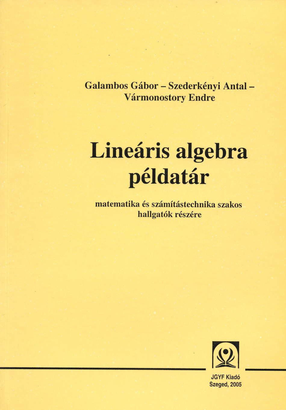 Lineáris algebra példatár - JGYFK